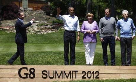 Francois Hollande, Barack Obama, Angela Merkel and Mario Monti